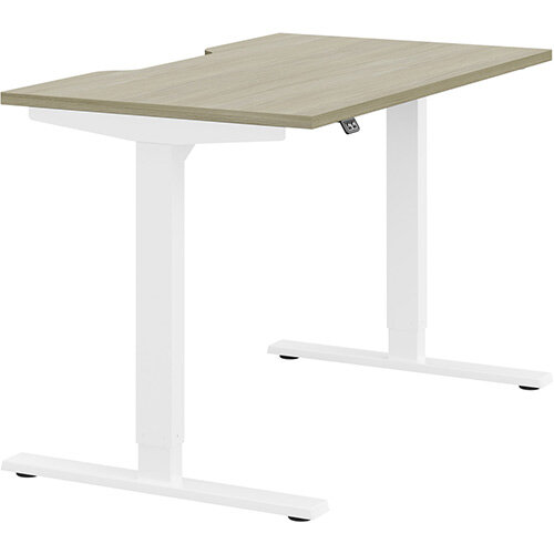 Zoom Height Adjustable Sit Stand Office Desk Scallop Top W1200mmxD700mmxH685-1185mm Arctic Oak Top White Frame - Prevents &Reduces Muscle &Back Problems, Poor Circulation &Increases Brain Activity.