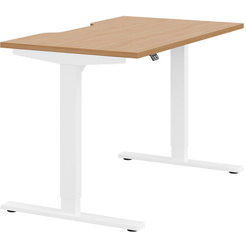 Zoom Height Adjustable Sit Stand Office Desk Scallop Top W1200mmxD700mmxH685-1185mm Beech Top White Frame - Prevents &Reduces Muscle &Back Problems, Poor Circulation &Increases Brain Activity.