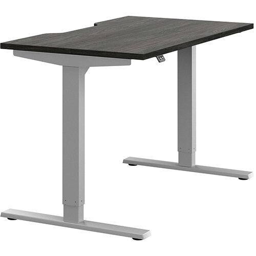 Zoom Height Adjustable Sit Stand Office Desk Scallop Top W1200mmxD700mmxH685-1185mm Carbon Walnut Top Silver Frame - Prevents &Reduces Muscle &Back Problems, Poor Circulation &Increases Brain Activity.