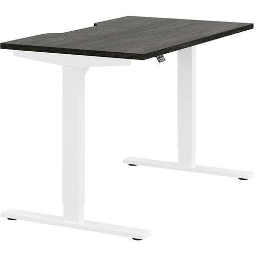 Zoom Height Adjustable Sit Stand Office Desk Scallop Top W1200mmxD700mmxH685-1185mm Carbon Walnut Top White Frame - Prevents &Reduces Muscle &Back Problems, Poor Circulation &Increases Brain Activity.