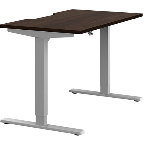 Zoom Height Adjustable Sit Stand Office Desk Scallop Top W1200mmxD700mmxH685-1185mm Dark Walnut Top Silver Frame - Prevents &Reduces Muscle &Back Problems, Poor Circulation &Increases Brain Activity.
