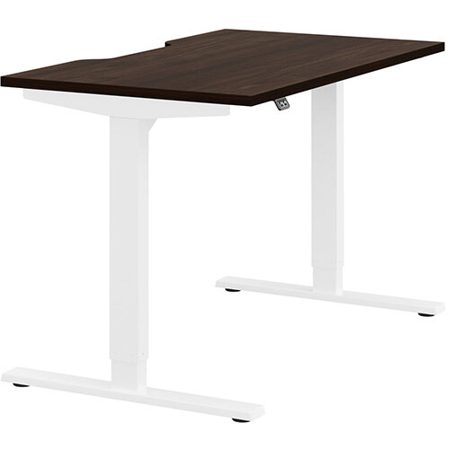 Zoom Height Adjustable Sit Stand Office Desk Scallop Top W1200mmxD700mmxH685-1185mm Dark Walnut Top White Frame - Prevents &Reduces Muscle &Back Problems, Poor Circulation &Increases Brain Activity.