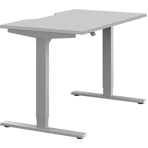Zoom Height Adjustable Sit Stand Office Desk Scallop Top W1200mmxD700mmxH685-1185mm Grey Top Silver Frame - Prevents &Reduces Muscle &Back Problems, Poor Circulation &Increases Brain Activity.