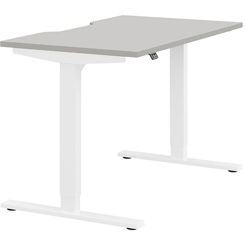 Zoom Height Adjustable Sit Stand Office Desk Scallop Top W1200mmxD700mmxH685-1185mm Grey Top White Frame - Prevents &Reduces Muscle &Back Problems, Poor Circulation &Increases Brain Activity.
