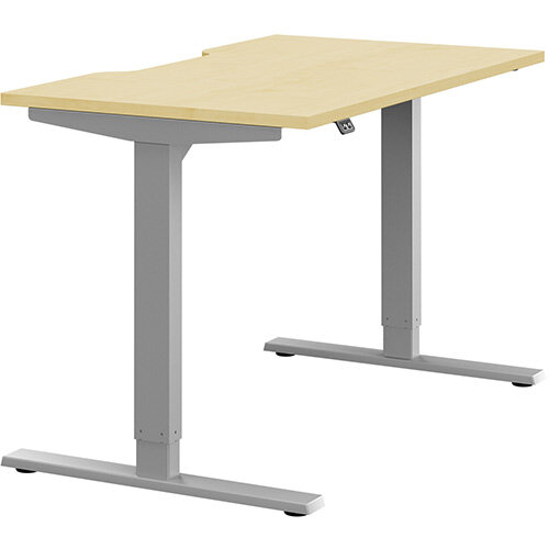 Zoom Height Adjustable Sit Stand Office Desk Scallop Top W1200mmxD700mmxH685-1185mm Maple Top Silver Frame - Prevents &Reduces Muscle &Back Problems, Poor Circulation &Increases Brain Activity.