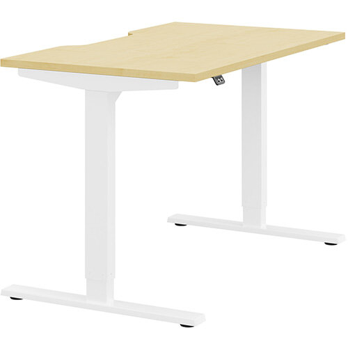 Zoom Height Adjustable Sit Stand Office Desk Scallop Top W1200mmxD700mmxH685-1185mm Maple Top White Frame - Prevents &Reduces Muscle &Back Problems, Poor Circulation &Increases Brain Activity.