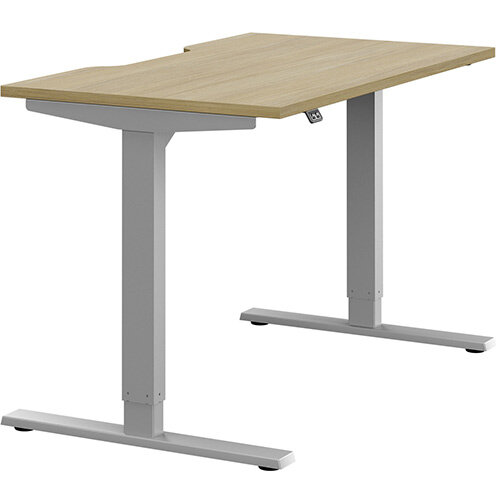 Zoom Height Adjustable Sit Stand Office Desk Scallop Top W1200mmxD700mmxH685-1185mm Urban Oak Top Silver Frame - Prevents &Reduces Muscle &Back Problems, Poor Circulation &Increases Brain Activity.