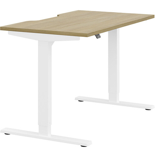 Zoom Height Adjustable Sit Stand Office Desk Scallop Top W1200mmxD700mmxH685-1185mm Urban oak Top White Frame - Prevents &Reduces Muscle &Back Problems, Poor Circulation &Increases Brain Activity.