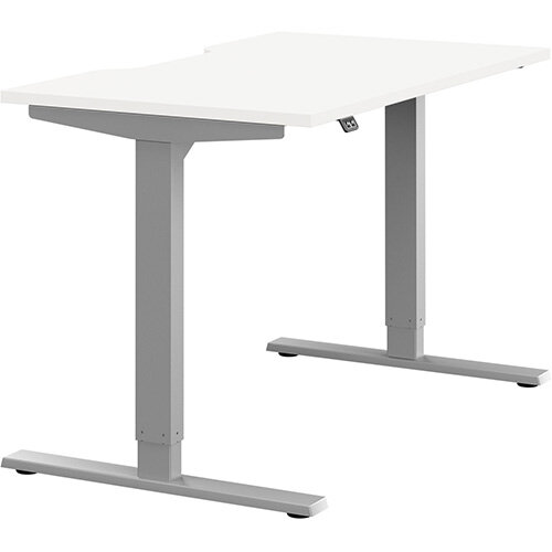 Zoom Height Adjustable Sit Stand Office Desk Scallop Top W1200mmxD700mmxH685-1185mm White Top Silver Frame - Prevents &Reduces Muscle &Back Problems, Poor Circulation &Increases Brain Activity.