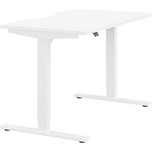 Zoom Height Adjustable Sit Stand Office Desk Scallop Top W1200mmxD700mmxH685-1185mm White Top White Frame - Prevents &Reduces Muscle &Back Problems, Poor Circulation &Increases Brain Activity.