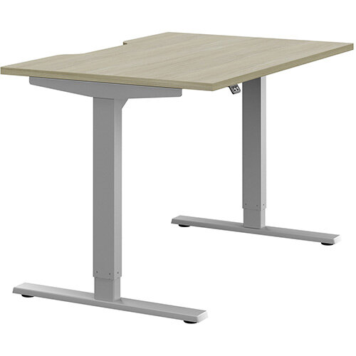 Zoom Height Adjustable Sit Stand Office Desk Scallop Top W1200mmxD800mmxH685-1185mm Arctic Oak Top Silver Frame - Prevents &Reduces Muscle &Back Problems, Poor Circulation &Increases Brain Activity.