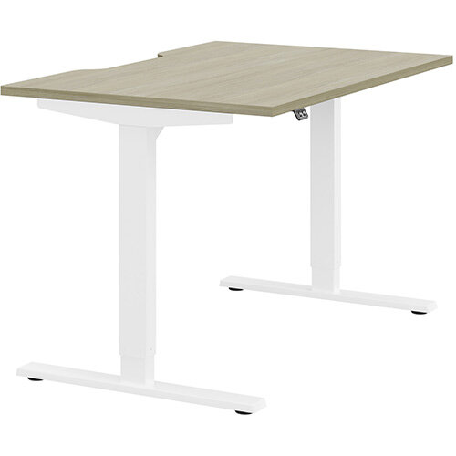 Zoom Height Adjustable Sit Stand Office Desk Scallop Top W1200mmxD800mmxH685-1185mm Arctic Oak Top White Frame - Prevents &Reduces Muscle &Back Problems, Poor Circulation &Increases Brain Activity.