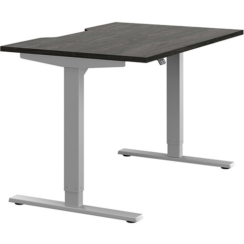 Zoom Height Adjustable Sit Stand Office Desk Scallop Top W1200mmxD800mmxH685-1185mm Carbon Walnut Top Silver Frame - Prevents &Reduces Muscle &Back Problems, Poor Circulation &Increases Brain Activity.