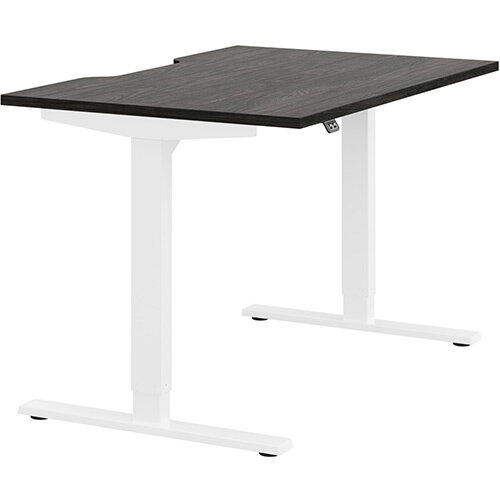 Zoom Height Adjustable Sit Stand Office Desk Scallop Top W1200mmxD800mmxH685-1185mm Carbon Walnut Top White Frame - Prevents &Reduces Muscle &Back Problems, Poor Circulation &Increases Brain Activity.