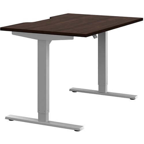Zoom Height Adjustable Sit Stand Office Desk Scallop Top W1200mmxD800mmxH685-1185mm Dark Walnut Top Silver Frame - Prevents &Reduces Muscle &Back Problems, Poor Circulation &Increases Brain Activity.