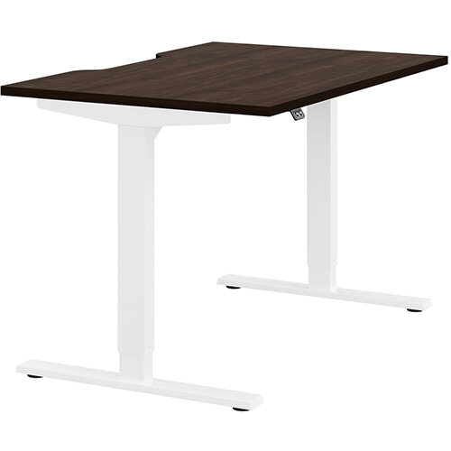 Zoom Height Adjustable Sit Stand Office Desk Scallop Top W1200mmxD800mmxH685-1185mm Dark Walnut Top White Frame - Prevents &Reduces Muscle &Back Problems, Poor Circulation &Increases Brain Activity.