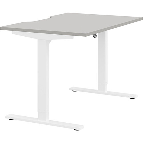Zoom Height Adjustable Sit Stand Office Desk Scallop Top W1200mmxD800mmxH685-1185mm Grey Top White Frame - Prevents &Reduces Muscle &Back Problems, Poor Circulation &Increases Brain Activity.