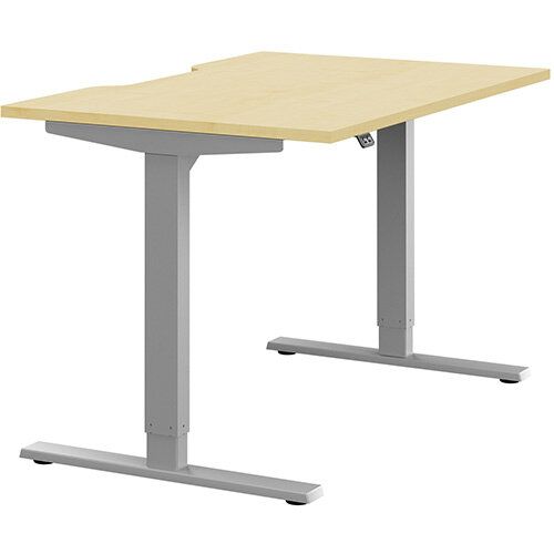 Zoom Height Adjustable Sit Stand Office Desk Scallop Top W1200mmxD800mmxH685-1185mm Maple Top Silver Frame - Prevents &Reduces Muscle &Back Problems, Poor Circulation &Increases Brain Activity.