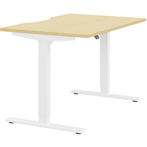 Zoom Height Adjustable Sit Stand Office Desk Scallop Top W1200mmxD800mmxH685-1185mm Maple Top White Frame - Prevents &Reduces Muscle &Back Problems, Poor Circulation &Increases Brain Activity.
