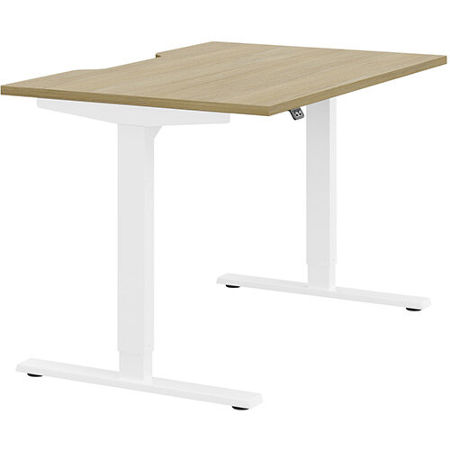 Zoom Height Adjustable Sit Stand Office Desk Scallop Top W1200mmxD800mmxH685-1185mm Urban oak Top White Frame - Prevents &Reduces Muscle &Back Problems, Poor Circulation &Increases Brain Activity.