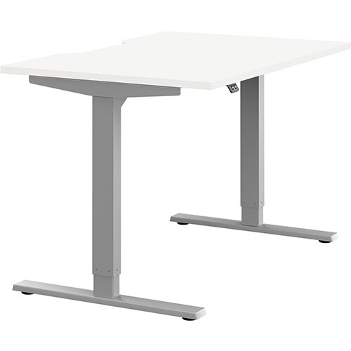 Zoom Height Adjustable Sit Stand Office Desk Scallop Top W1200mmxD800mmxH685-1185mm White Top Silver Frame - Prevents &Reduces Muscle &Back Problems, Poor Circulation &Increases Brain Activity.