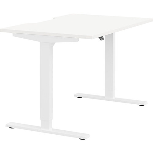 Zoom Height Adjustable Sit Stand Office Desk Scallop Top W1200mmxD800mmxH685-1185mm White Top White Frame - Prevents &Reduces Muscle &Back Problems, Poor Circulation &Increases Brain Activity.