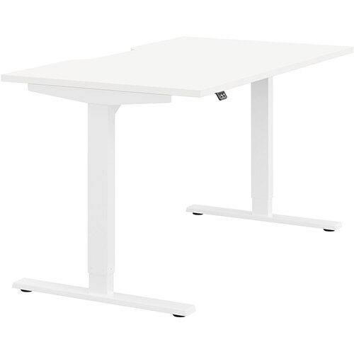 Zoom Height Adjustable Sit Stand Office Desk Scallop Top W1400mmxD800mmxH685-1185mm White Top White Frame - Prevents &Reduces Muscle &Back Problems, Poor Circulation &Increases Brain Activity.