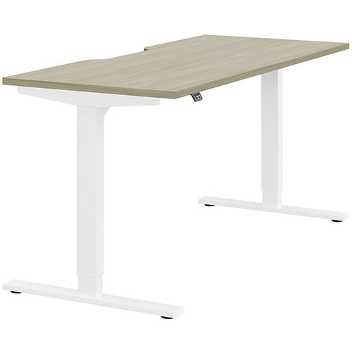 Zoom Height Adjustable Sit Stand Office Desk Scallop Top W1600mmxD700mmxH685-1185mm Arctic Oak Top White Frame - Prevents &Reduces Muscle &Back Problems, Poor Circulation &Increases Brain Activity.