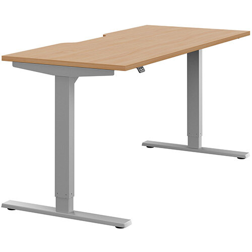 Zoom Height Adjustable Sit Stand Office Desk Scallop Top W1600mmxD700mmxH685-1185mm Beech Top Silver Frame - Prevents &Reduces Muscle &Back Problems, Poor Circulation &Increases Brain Activity.