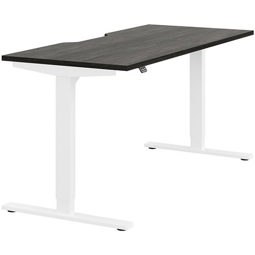 Zoom Height Adjustable Sit Stand Office Desk Scallop Top W1600mmxD700mmxH685-1185mm Carbon Walnut Top White Frame - Prevents &Reduces Muscle &Back Problems, Poor Circulation &Increases Brain Activity.