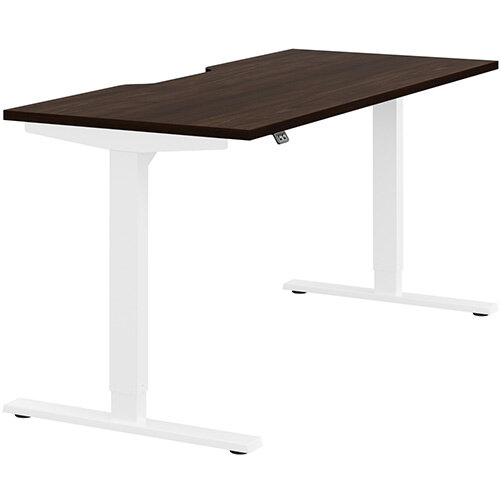Zoom Height Adjustable Sit Stand Office Desk Scallop Top W1600mmxD700mmxH685-1185mm Dark Walnut Top White Frame - Prevents &Reduces Muscle &Back Problems, Poor Circulation &Increases Brain Activity.