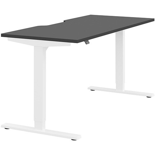 Zoom Height Adjustable Sit Stand Office Desk Scallop Top W1600mmxD700mmxH685-1185mm Graphite Top White Frame - Prevents &Reduces Muscle &Back Problems, Poor Circulation &Increases Brain Activity.