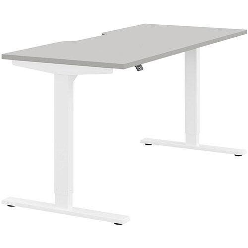 Zoom Height Adjustable Sit Stand Office Desk Scallop Top W1600mmxD700mmxH685-1185mm Grey Top White Frame - Prevents &Reduces Muscle &Back Problems, Poor Circulation &Increases Brain Activity.