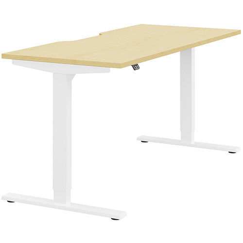 Zoom Height Adjustable Sit Stand Office Desk Scallop Top W1600mmxD700mmxH685-1185mm Maple Top White Frame - Prevents &Reduces Muscle &Back Problems, Poor Circulation &Increases Brain Activity.
