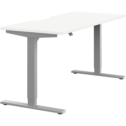 Zoom Height Adjustable Sit Stand Office Desk Scallop Top W1600mmxD700mmxH685-1185mm White Top Silver Frame - Prevents &Reduces Muscle &Back Problems, Poor Circulation &Increases Brain Activity.
