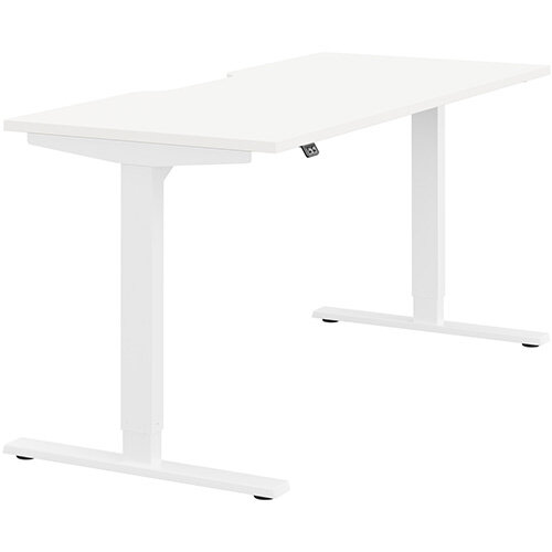 Zoom Height Adjustable Sit Stand Office Desk Scallop Top W1600mmxD700mmxH685-1185mm White Top White Frame - Prevents &Reduces Muscle &Back Problems, Poor Circulation &Increases Brain Activity.