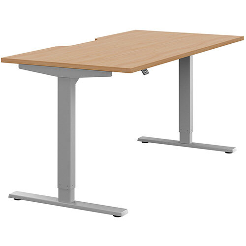 Zoom Height Adjustable Sit Stand Office Desk Scallop Top W1600mmxD800mmxH685-1185mm Beech Top Silver Frame - Prevents &Reduces Muscle &Back Problems, Poor Circulation &Increases Brain Activity.
