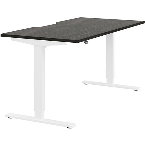 Zoom Height Adjustable Sit Stand Office Desk Scallop Top W1600mmxD800mmxH685-1185mm Carbon Walnut Top White Frame - Prevents &Reduces Muscle &Back Problems, Poor Circulation &Increases Brain Activity.