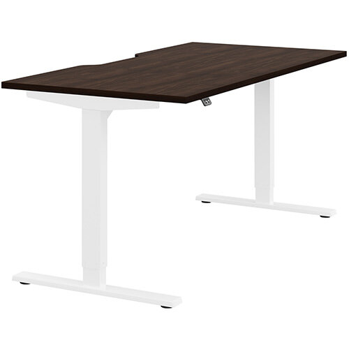 Zoom Height Adjustable Sit Stand Office Desk Scallop Top W1600mmxD800mmxH685-1185mm Dark Walnut Top White Frame - Prevents &Reduces Muscle &Back Problems, Poor Circulation &Increases Brain Activity.