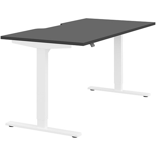 Zoom Height Adjustable Sit Stand Office Desk Scallop Top W1600mmxD800mmxH685-1185mm Graphite Top White Frame - Prevents &Reduces Muscle &Back Problems, Poor Circulation &Increases Brain Activity.