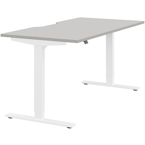 Zoom Height Adjustable Sit Stand Office Desk Scallop Top W1600mmxD800mmxH685-1185mm Grey Top White Frame - Prevents &Reduces Muscle &Back Problems, Poor Circulation &Increases Brain Activity.