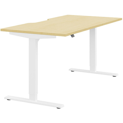 Zoom Height Adjustable Sit Stand Office Desk Scallop Top W1600mmxD800mmxH685-1185mm Maple Top White Frame - Prevents &Reduces Muscle &Back Problems, Poor Circulation &Increases Brain Activity.