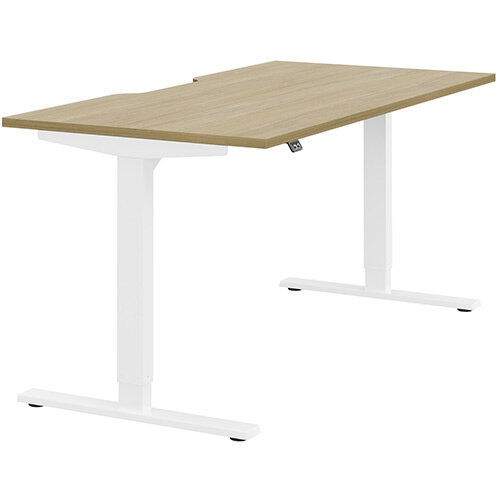 Zoom Height Adjustable Sit Stand Office Desk Scallop Top W1600mmxD800mmxH685-1185mm Urban oak Top White Frame - Prevents &Reduces Muscle &Back Problems, Poor Circulation &Increases Brain Activity.