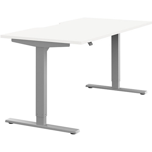 Zoom Height Adjustable Sit Stand Office Desk Scallop Top W1600mmxD800mmxH685-1185mm White Top Silver Frame - Prevents &Reduces Muscle &Back Problems, Poor Circulation &Increases Brain Activity.