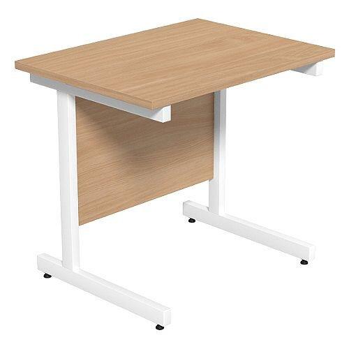 Cantilever Rectangular Return Office Desk White Legs W800xD600xH725mm Beech Ashford