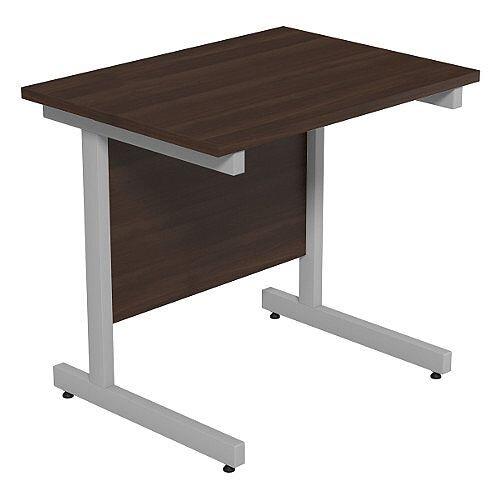 Cantilever Rectangular Return Office Desk Silver Legs W800xD600xH725mm Dark Walnut Ashford