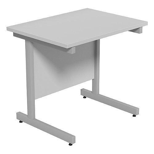 Cantilever Rectangular Return Office Desk Silver Legs W800xD600xH725mm Grey Ashford