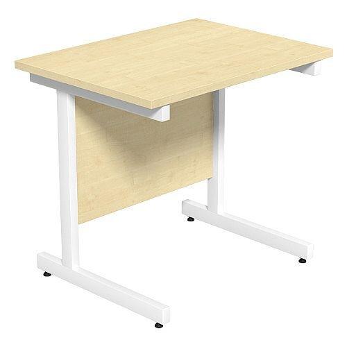 Cantilever Rectangular Return Office Desk White Legs W800xD600xH725mm Maple Ashford