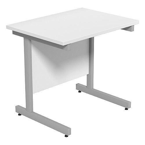 Cantilever Rectangular Return Office Desk Silver Legs W800xD600xH725mm White Ashford