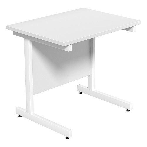 Cantilever Rectangular Return Office Desk White Legs W800xD600xH725mm White Ashford